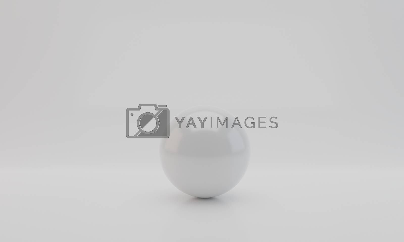White Sphere with Reflection on white background. 3D Rendering.