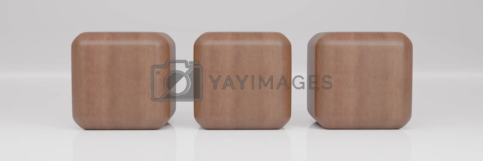 Wooden Rounded cube 3 Perspective on white background wiht Reflection. Geometric shape. 3D Rendering