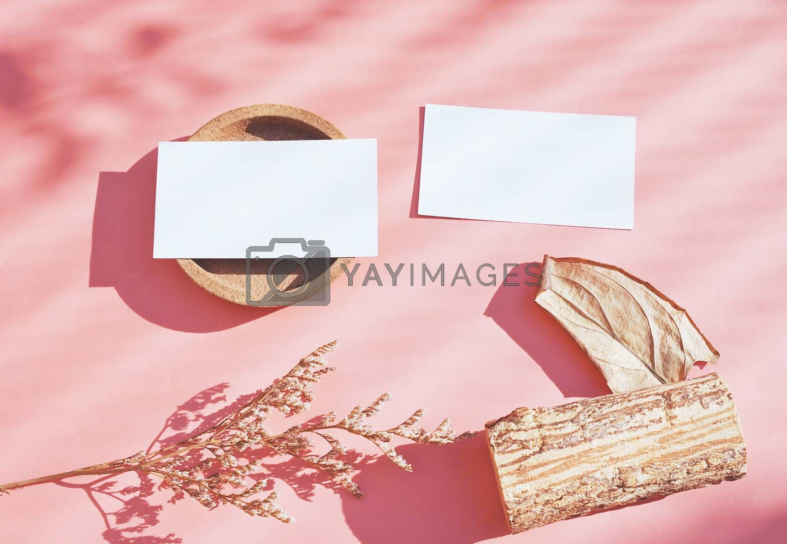 Royalty free image of Flat lay of branding identity business name card on with dry flo by nuchylee
