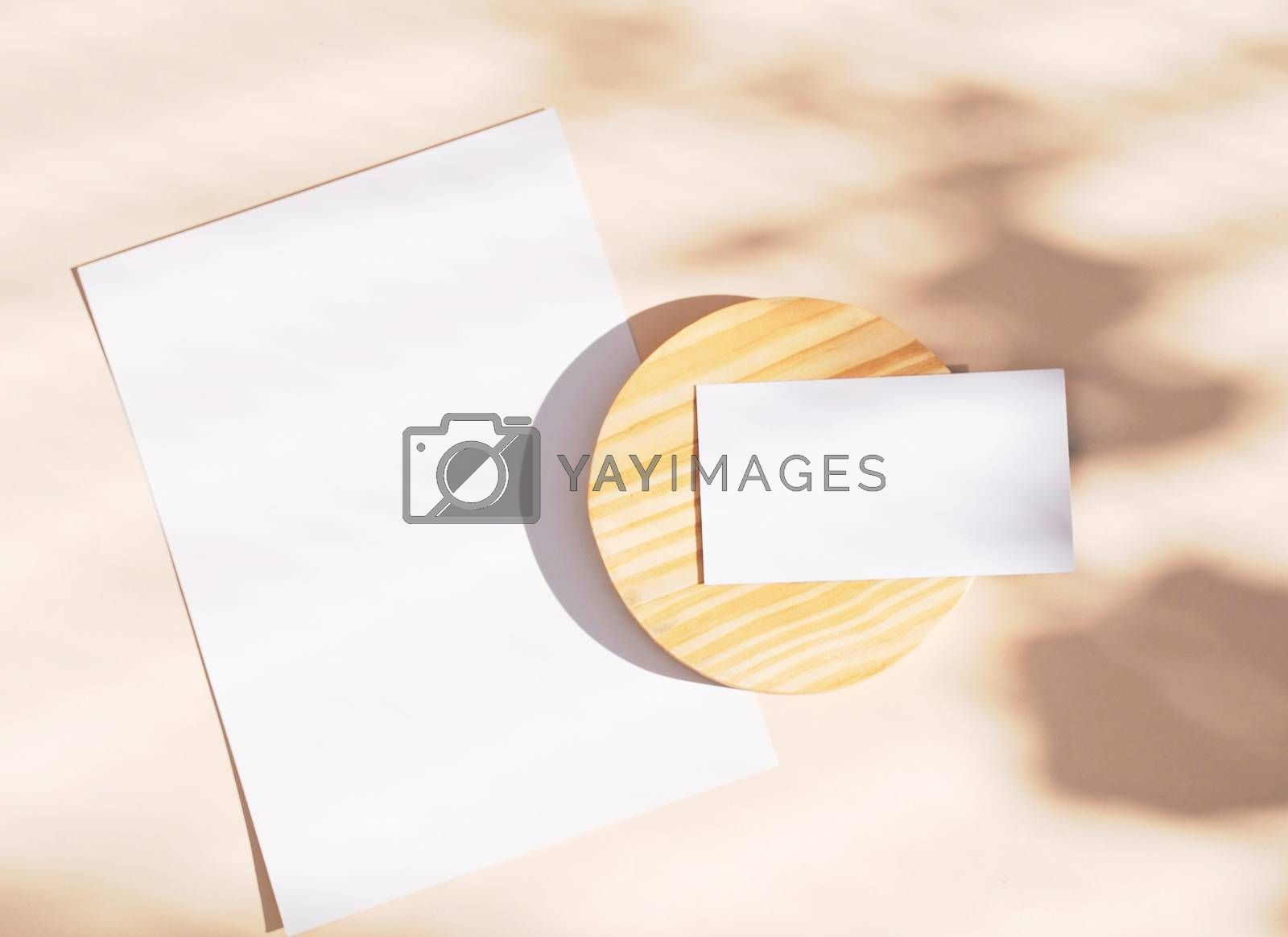 Royalty free image of Flat lay of branding identity business name card and blank paper by nuchylee
