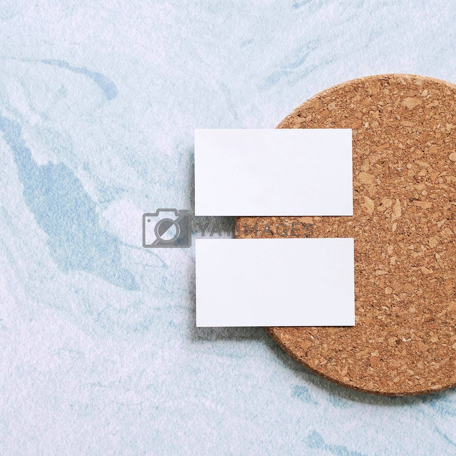 Royalty free image of Flat lay of branding identity business name card on wood board a by nuchylee