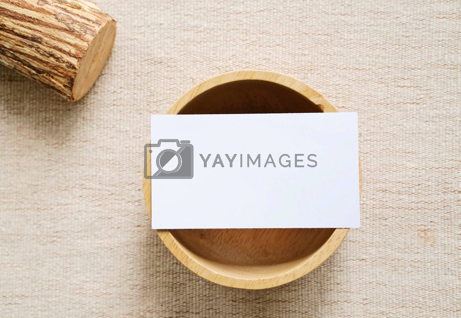 Royalty free image of Flat lay of branding identity business name card on wooden conta by nuchylee