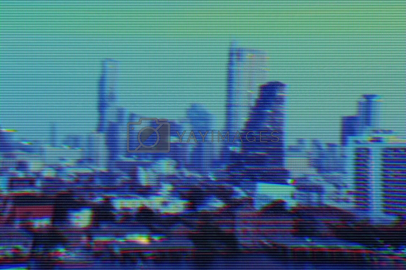 View of modern buildings and cityscape background with digital glitch effect