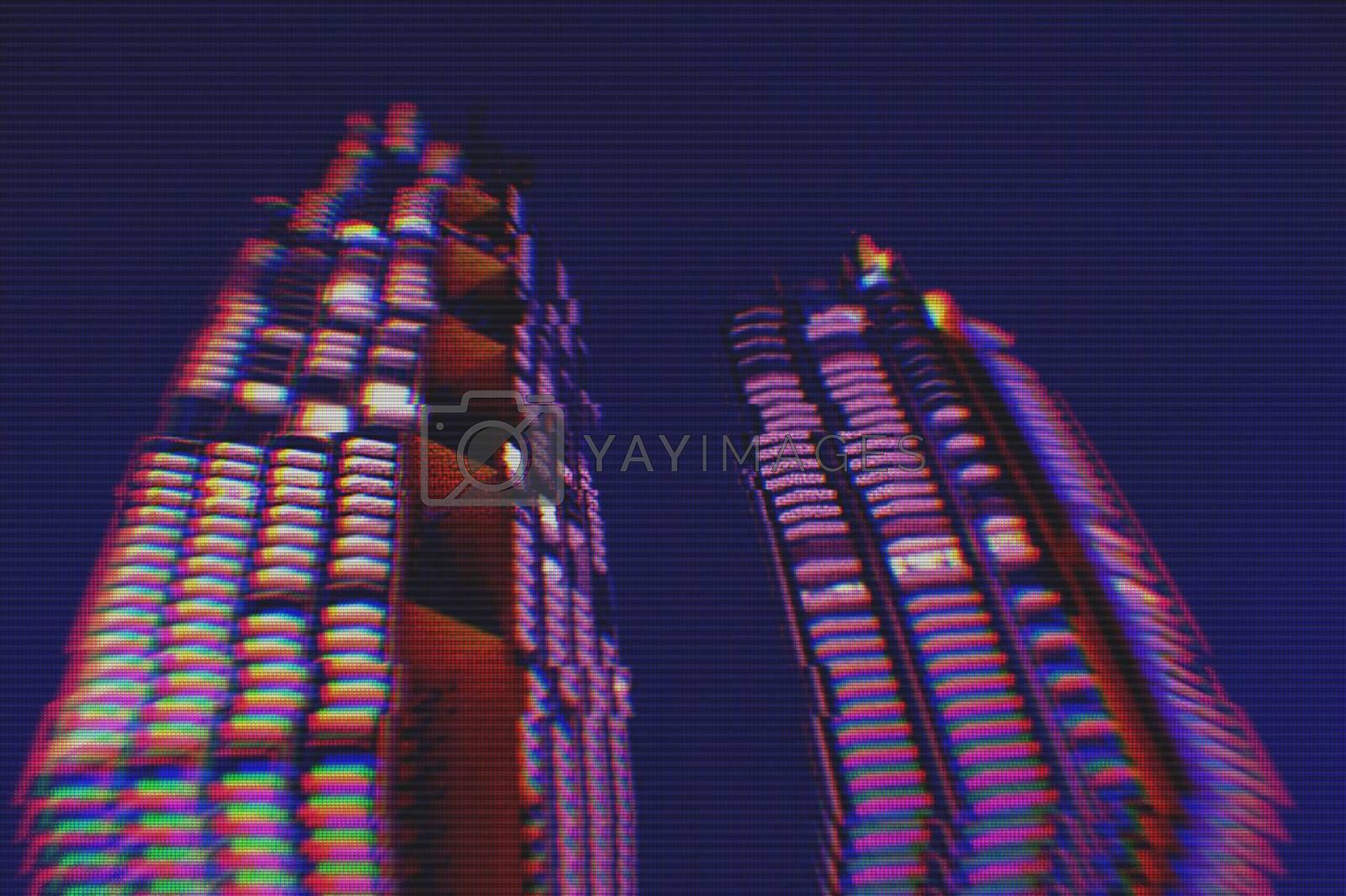 View of modern buildings in the city night background with digital glitch effect
