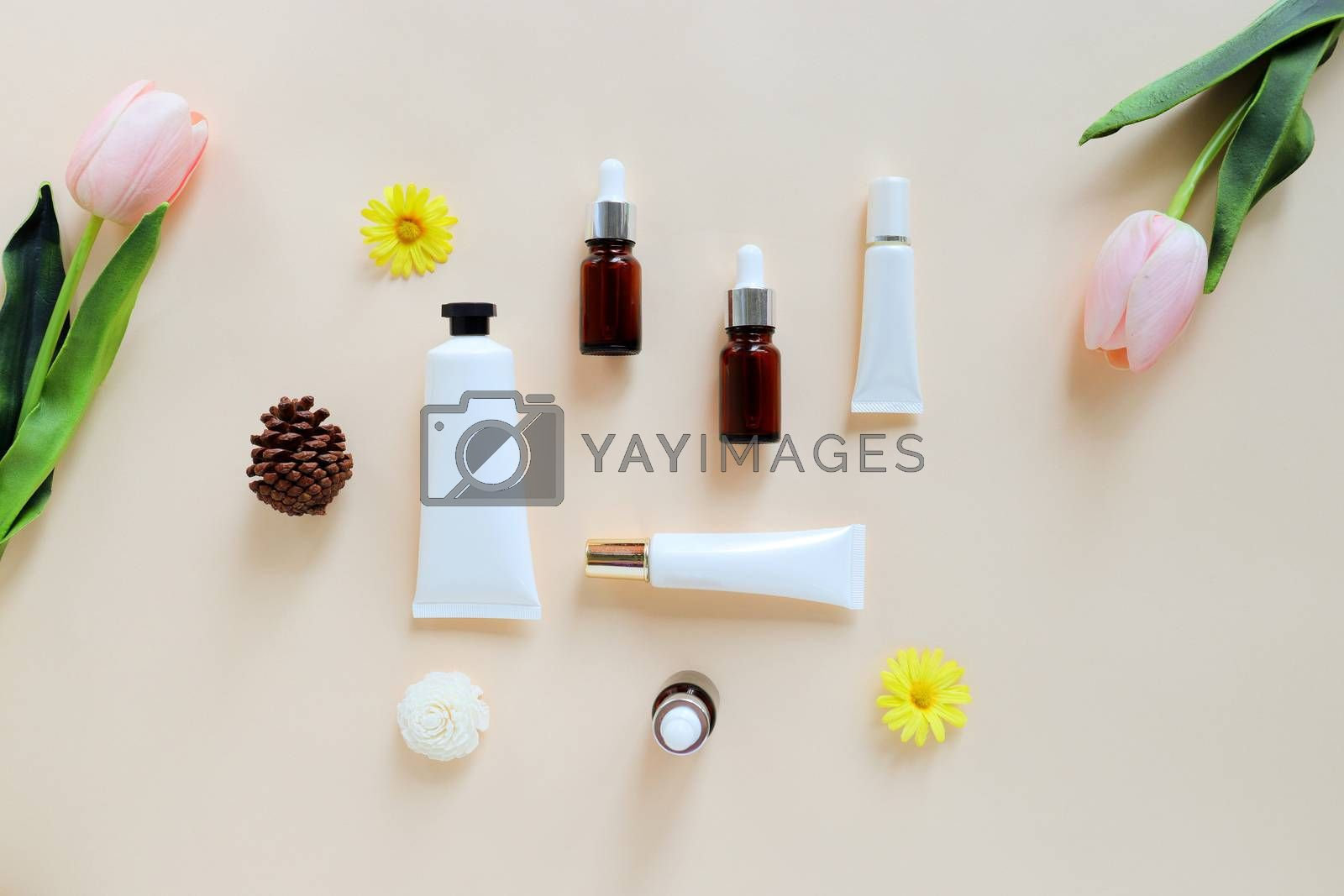 Royalty free image of Flat lay of various organic skincare and beauty products for moc by nuchylee