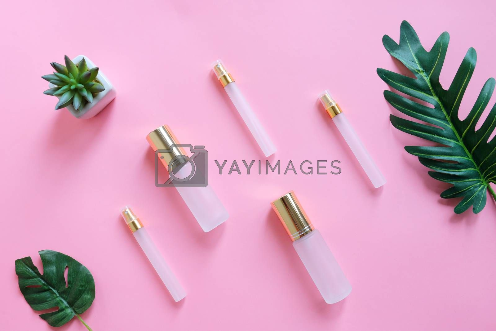 Royalty free image of Flat lay of beauty skincare products for mock up in minimal styl by nuchylee