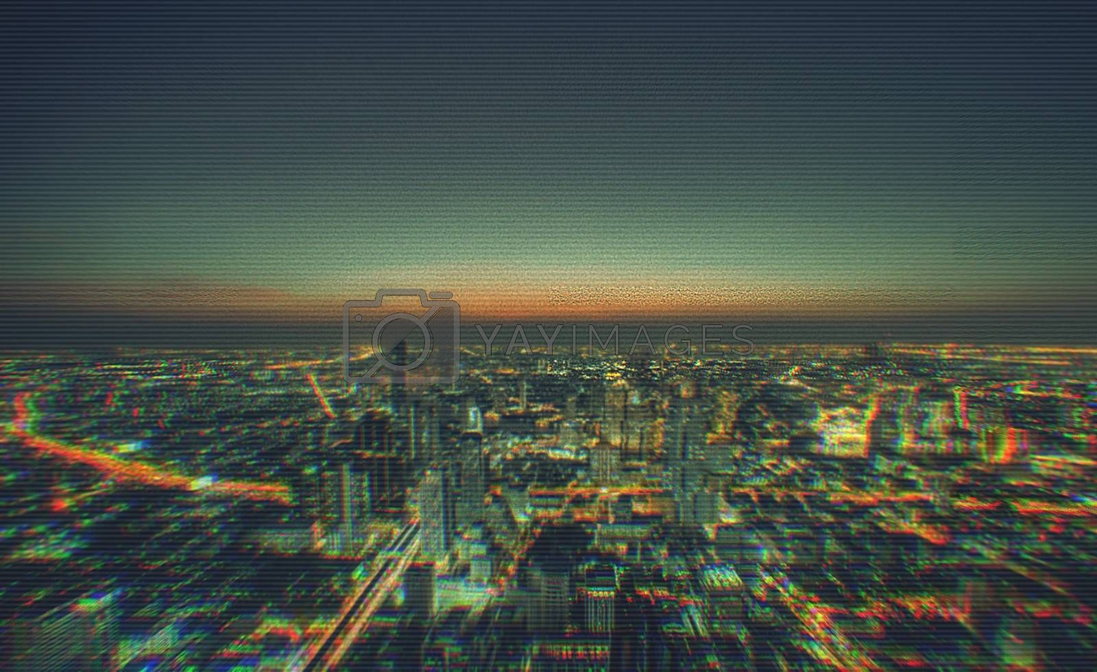 Cityscape of modern buildings in the city night background with digital glitch effect