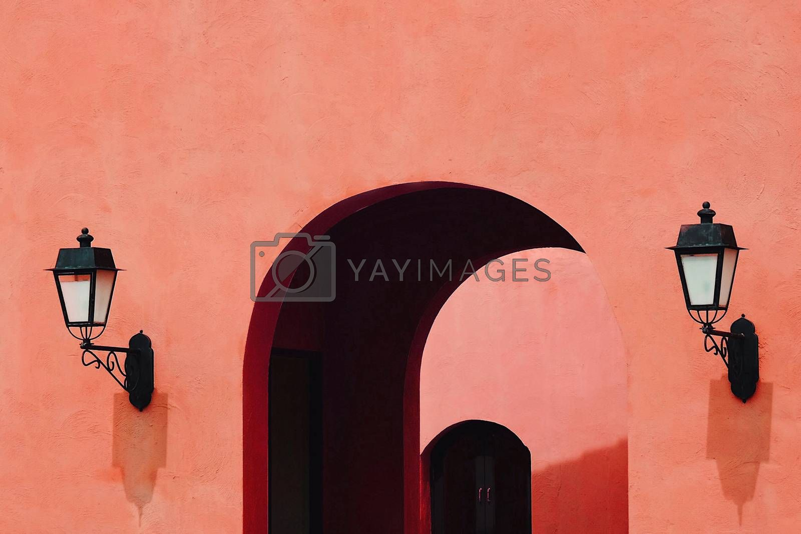 Living Coral color background, Color of the year 2019, Exterior building with entrance and lamp
