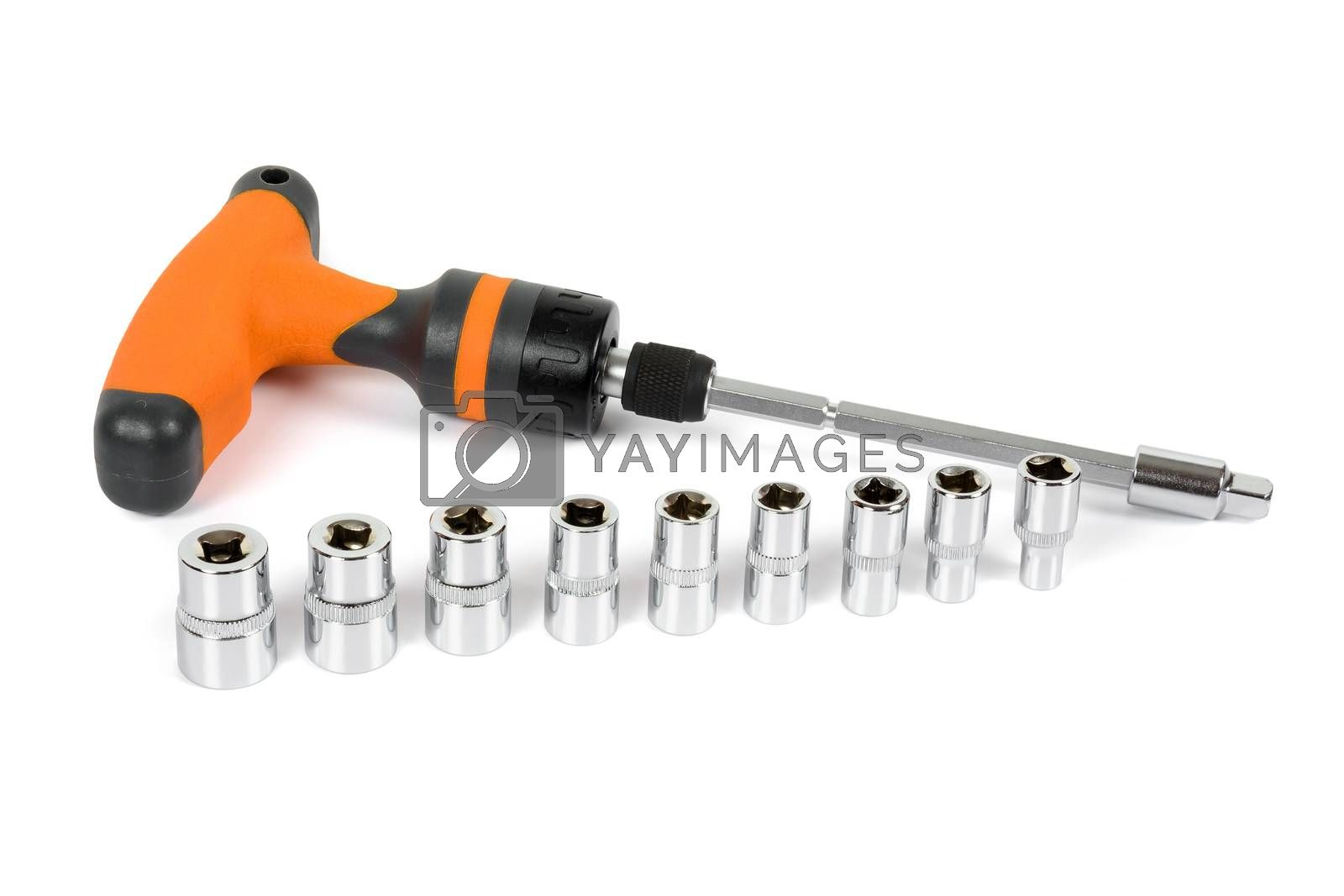 Socket spanner set isolated on white background with clipping path