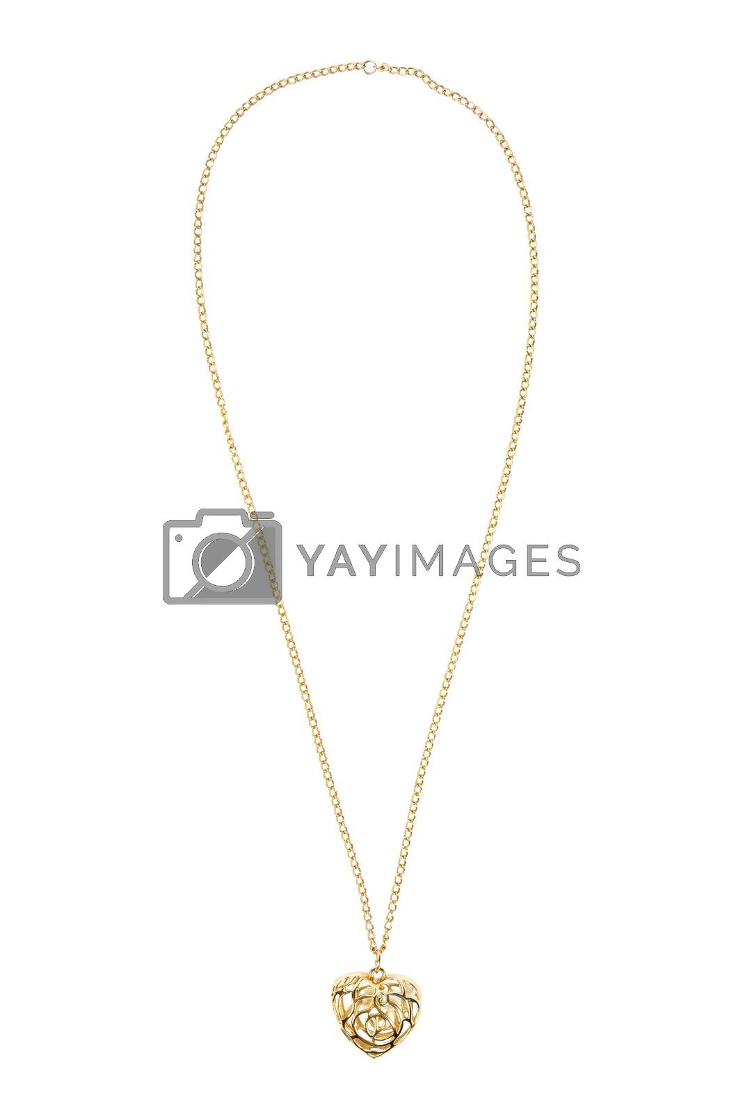 Heart shaped gold necklace isolated on white background with clipping path
