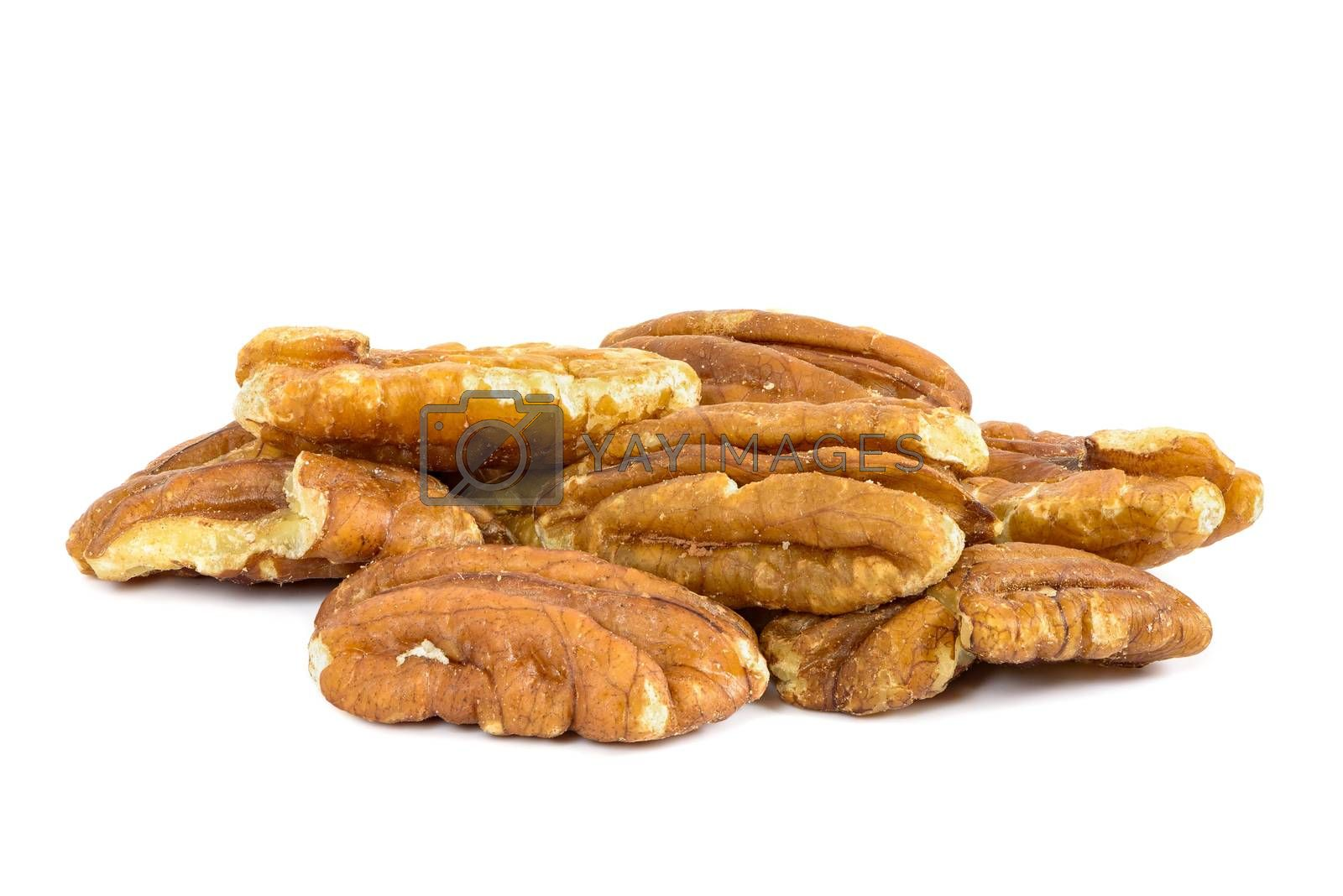 Heap of pecan nuts isolated on white background with clipping path