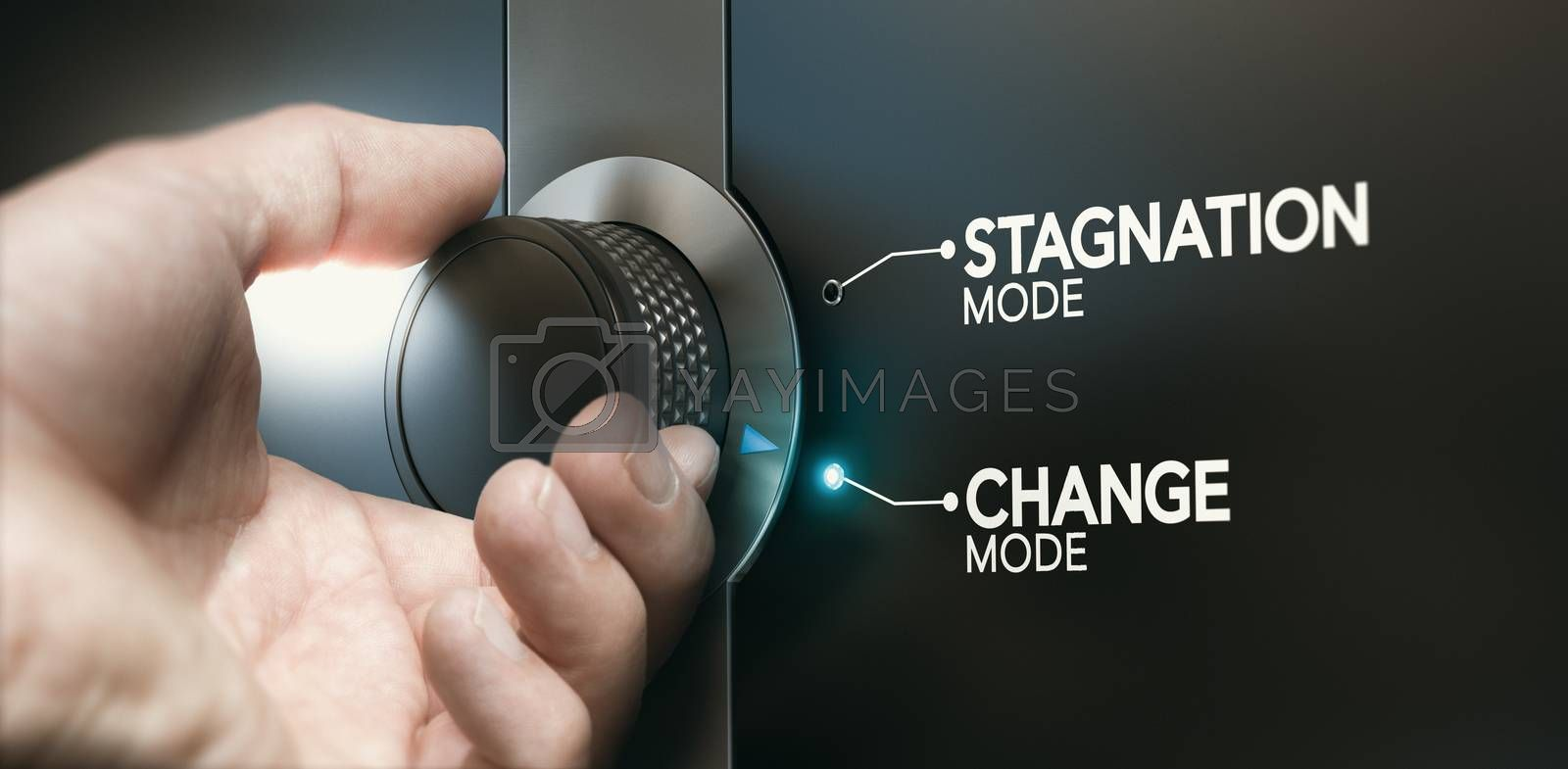Man turning a switch to overcome stagnation and to take the opportunity of a career evolution. Composite image between a hand photography and a 3D background.