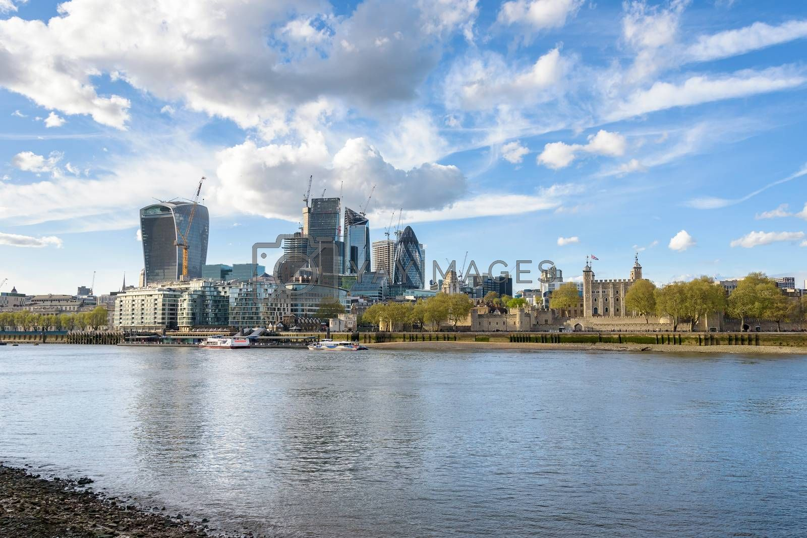 Skyline of London with Tower of London and City buildings