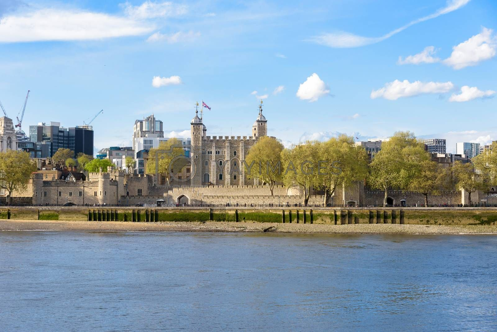 Historical building Tower of London, famous landmark of United Kingdom on a cloudy day