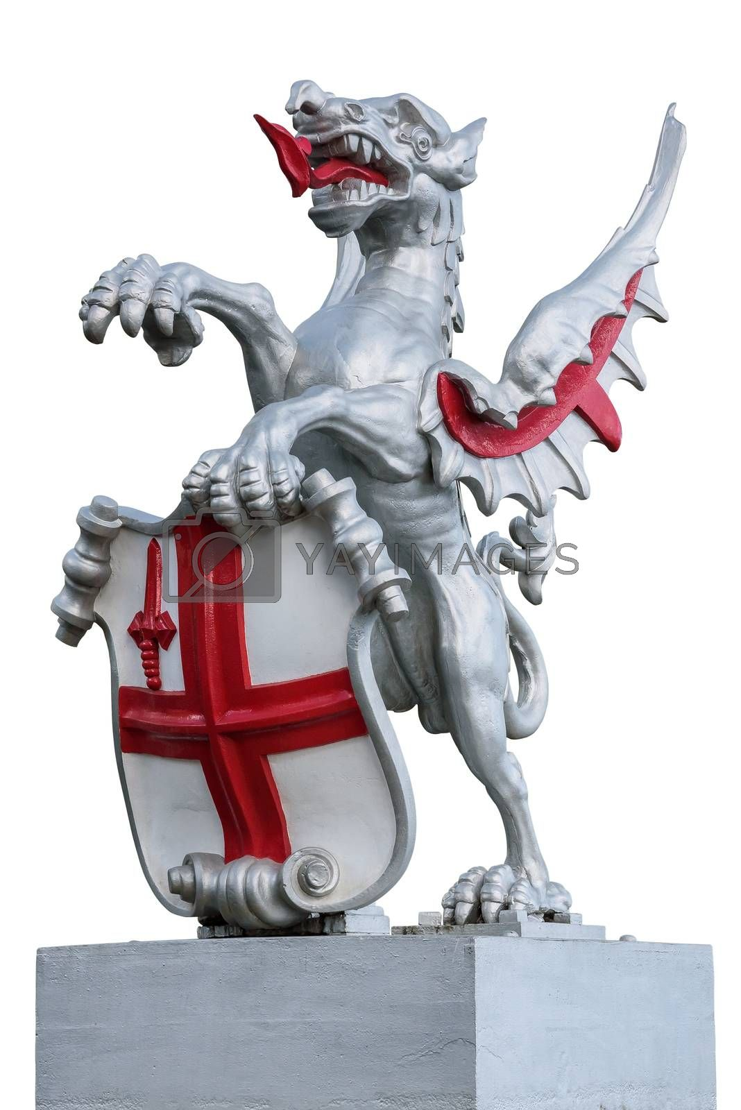 Original dragon boundary mark staute of the City of London isolated on white background with clipping path