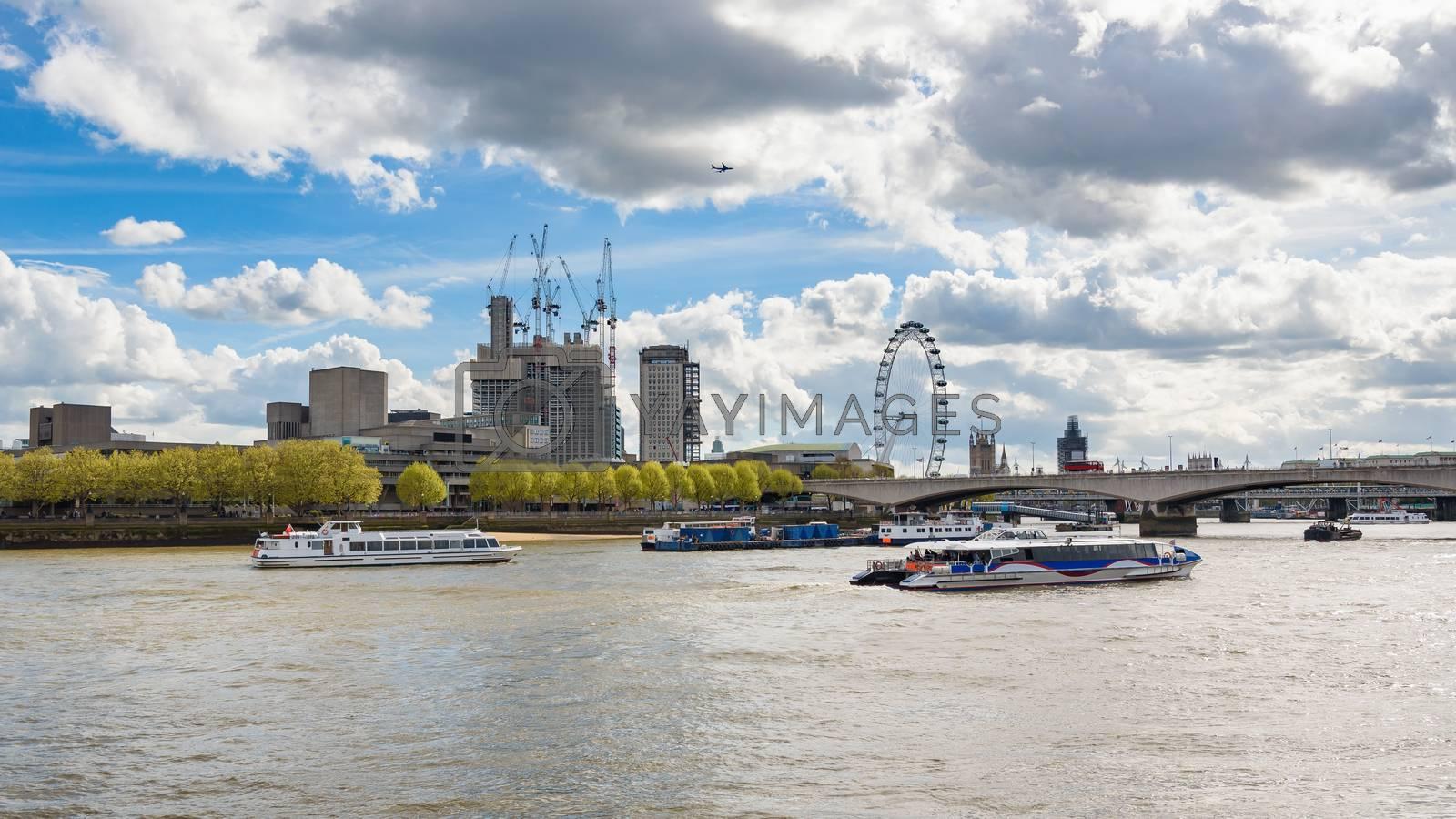 Ships on River Thames in London, United Kingdom