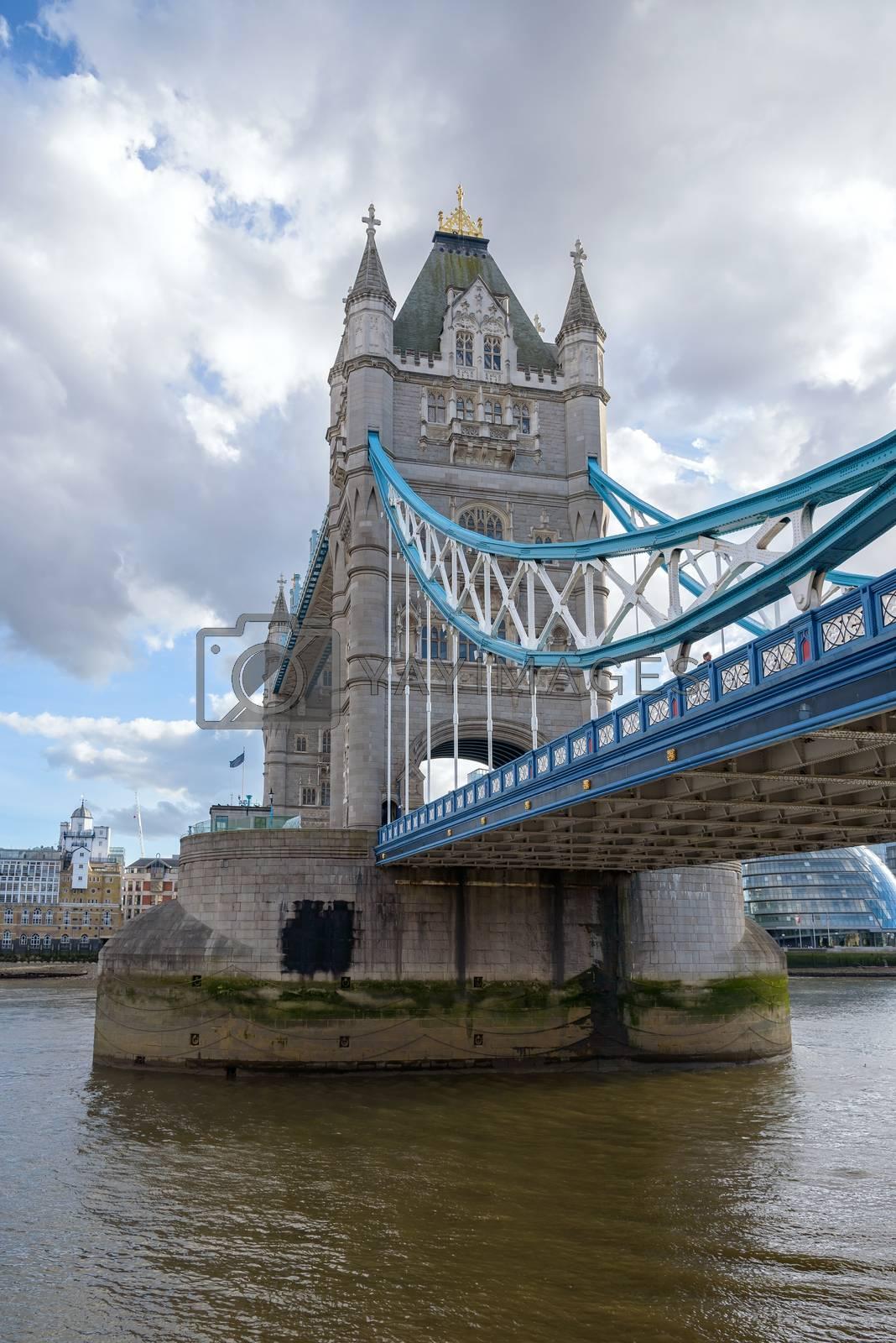 View of Tower Bridge, bascule and suspension bridge in London, UK