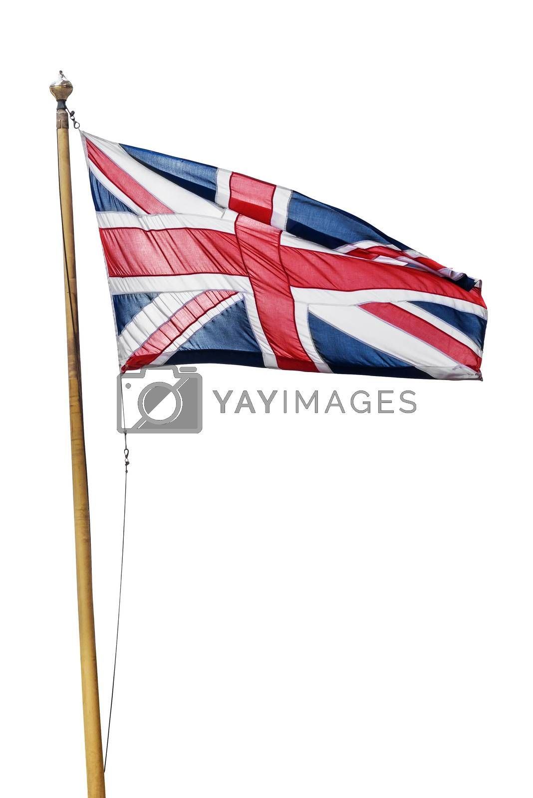 Flag of the United Kingdom isolated on white background with clipping path