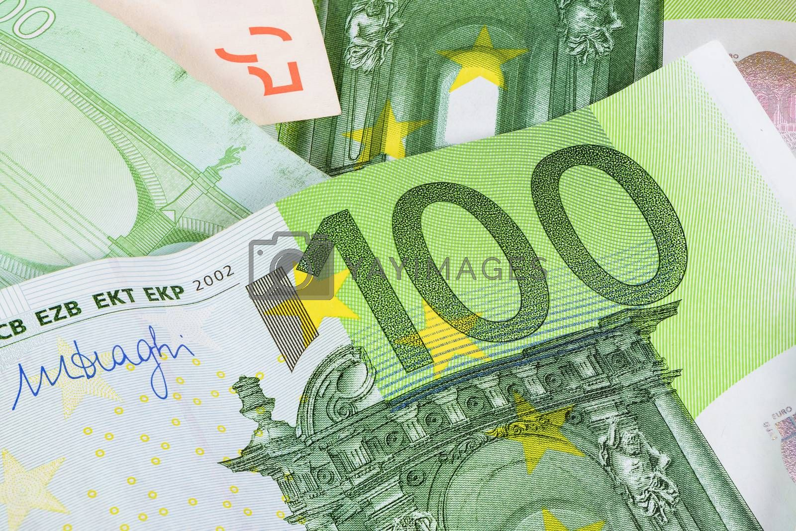 Closeup of 100 euro banknote as financial background