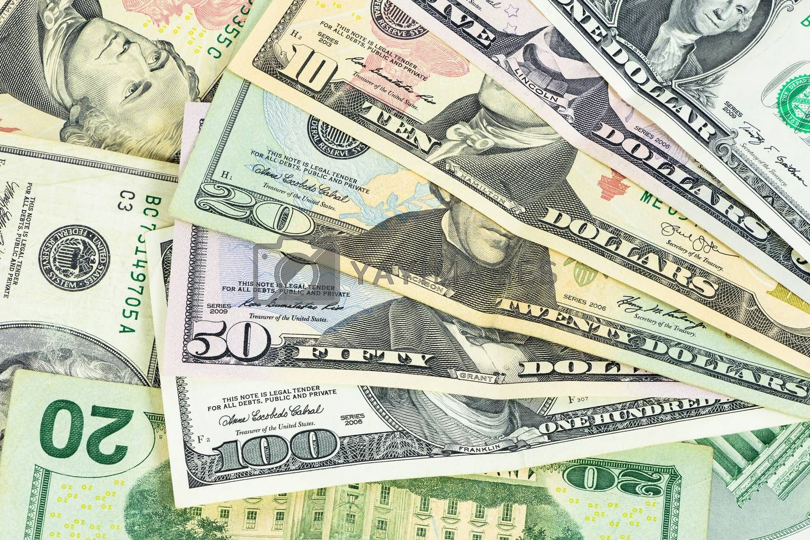 Set of us dollars banknotes as financial background