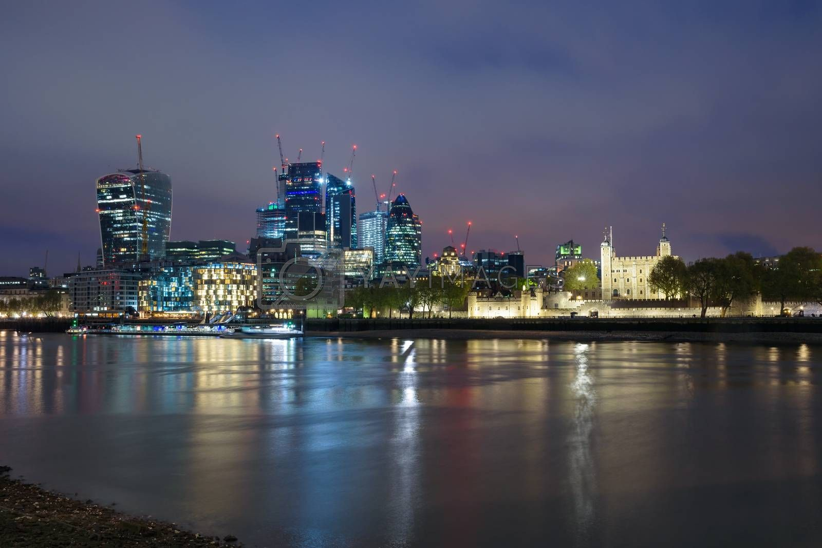 Colorful London skyline at cloudy night, United Kingdom