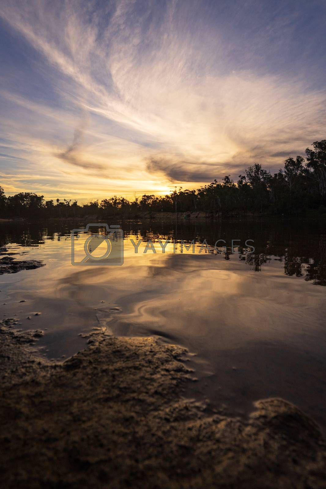 Royalty free image of Sunset on the murray river in Echuca, Australia by nuchylee