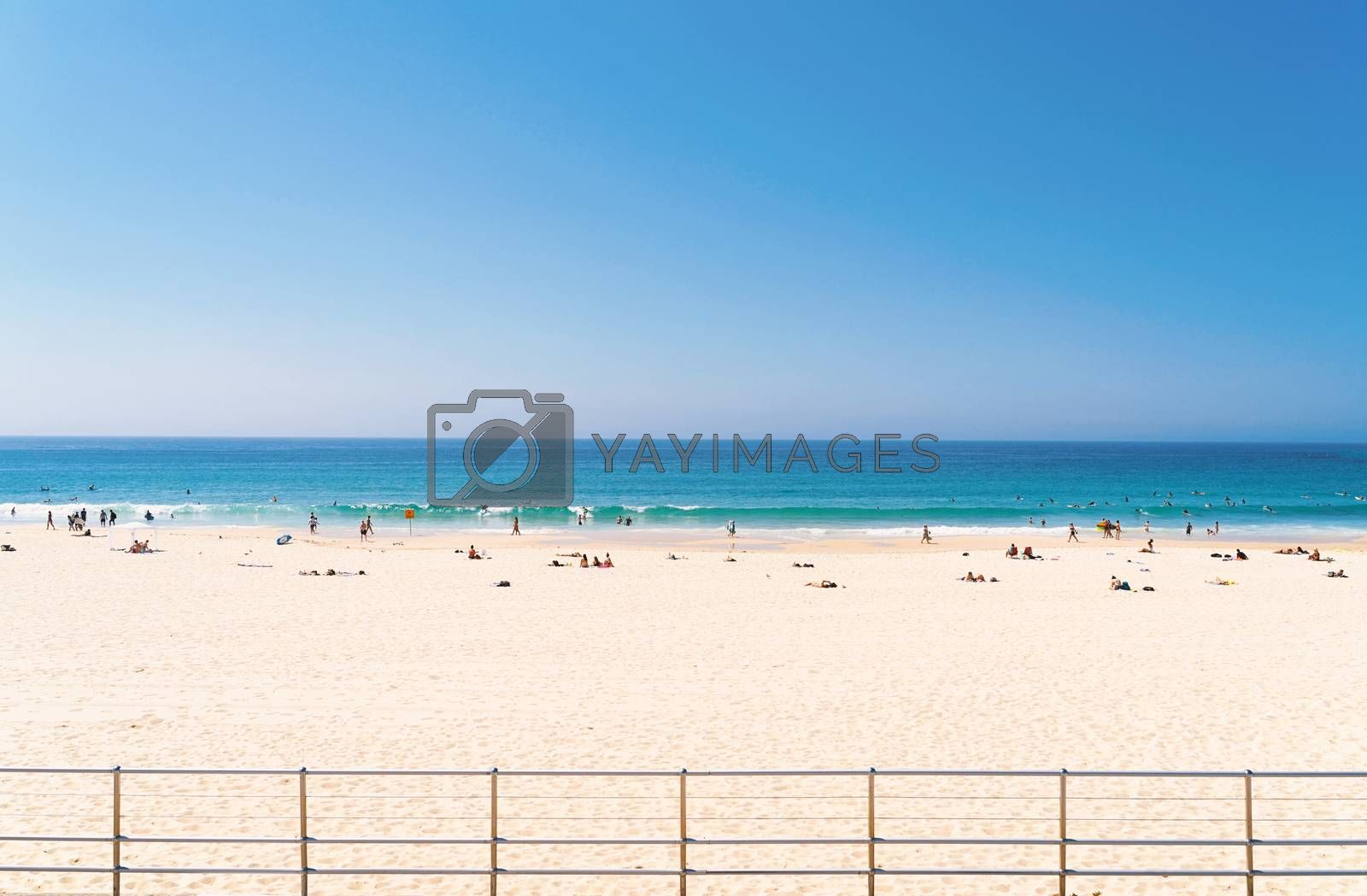 Royalty free image of Front view of sea beach with tourist sunbathing, swimming, surfi by nuchylee