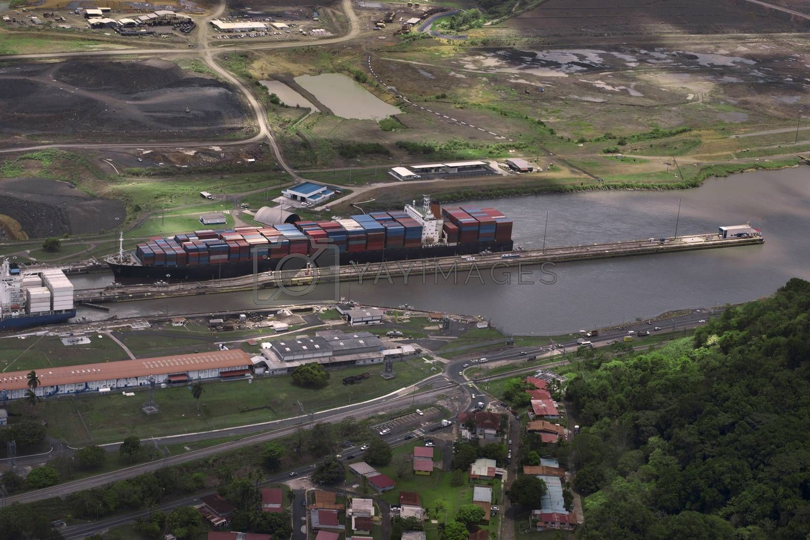 Cargo Ships At Miraflores Locks In Panama Canal, Panama