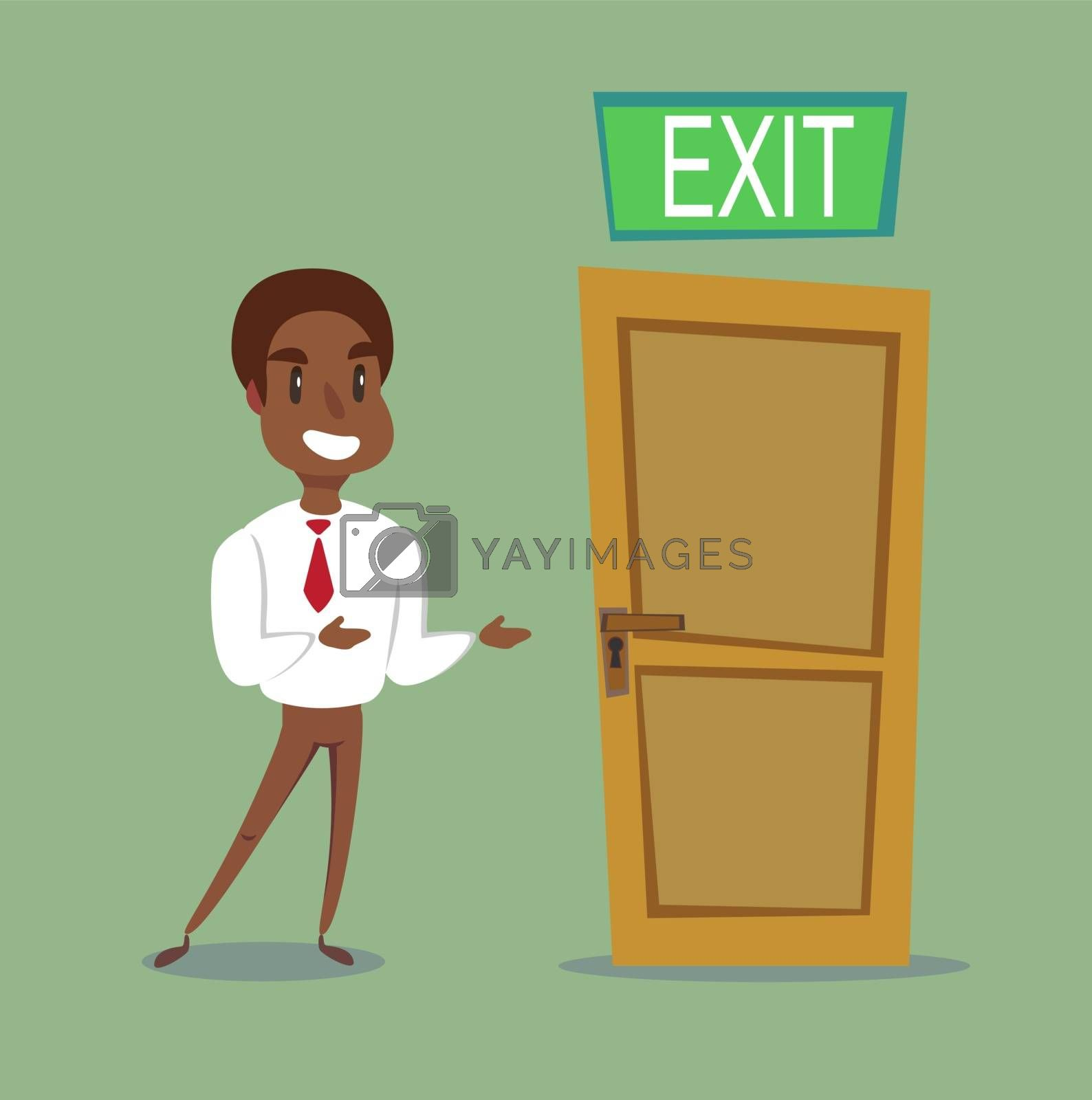 The black african american leader shows the direction. exit out. Vector illustration. Businessman person and door.