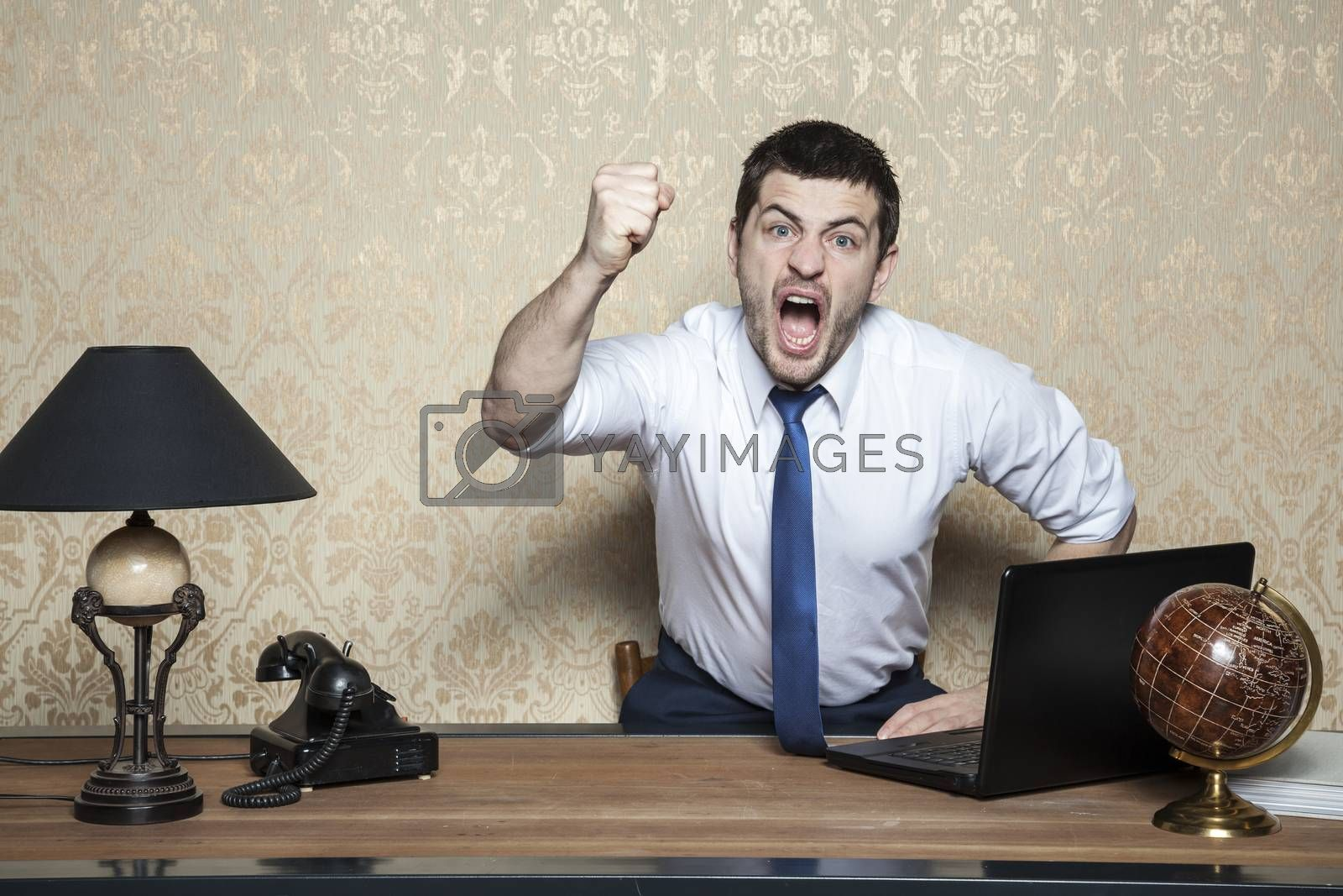 very angry businessman screaming by maselkoo99