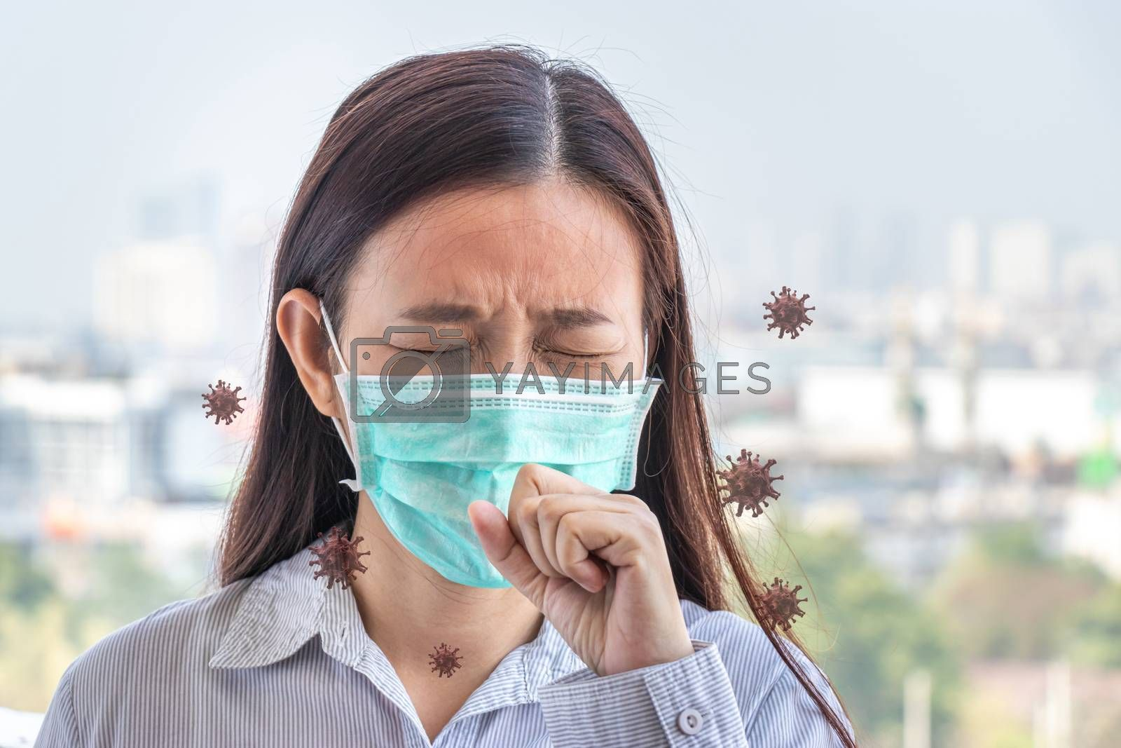 Asian people feeling sick from flu virus, coughing ,wearing hygiene mask to prevent for protect from the outbreak situation of Coronavirus 2019 infection or Covid-19