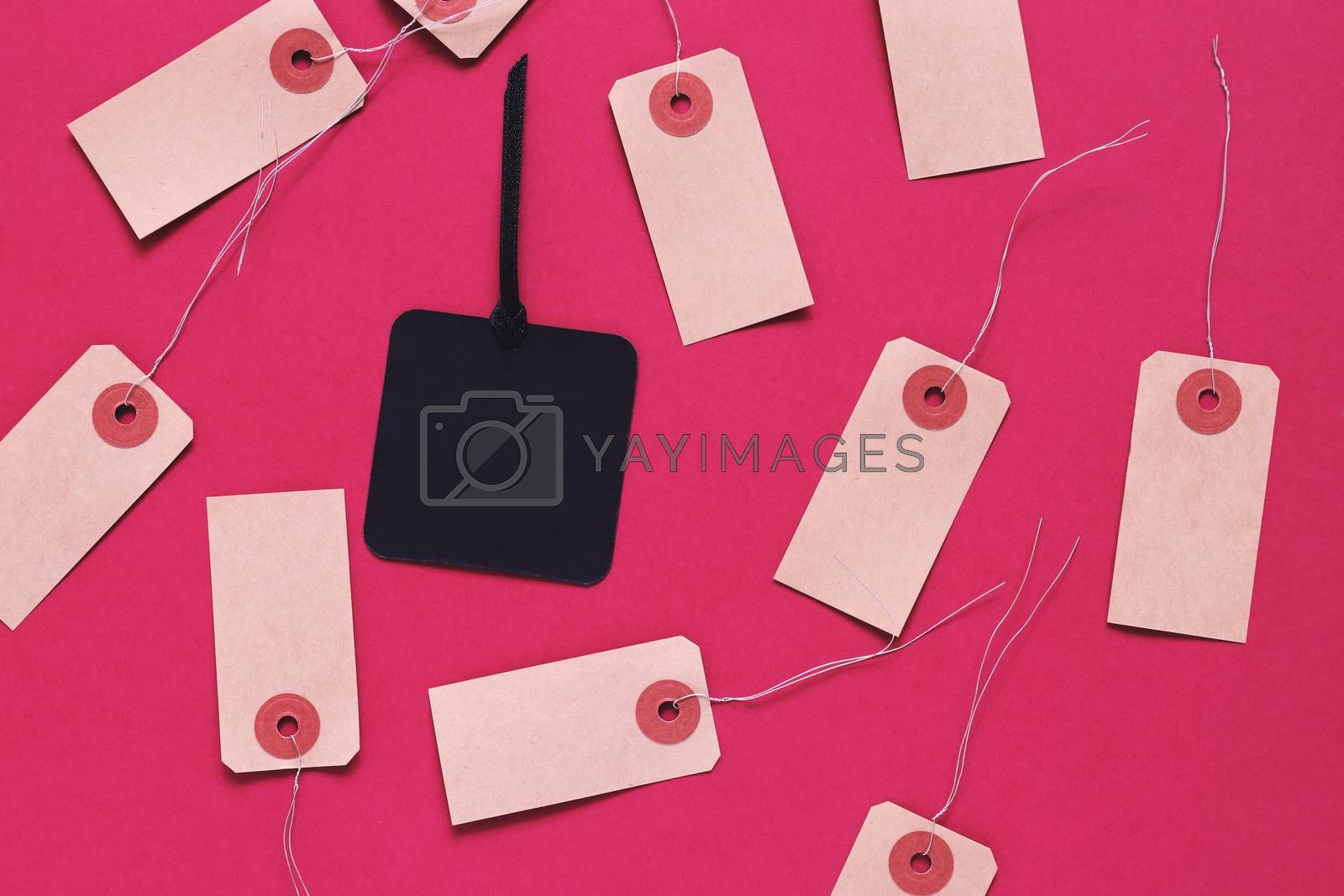 Black friday sale tag on black paper label surrounding with blank tag on red background, shopping concept