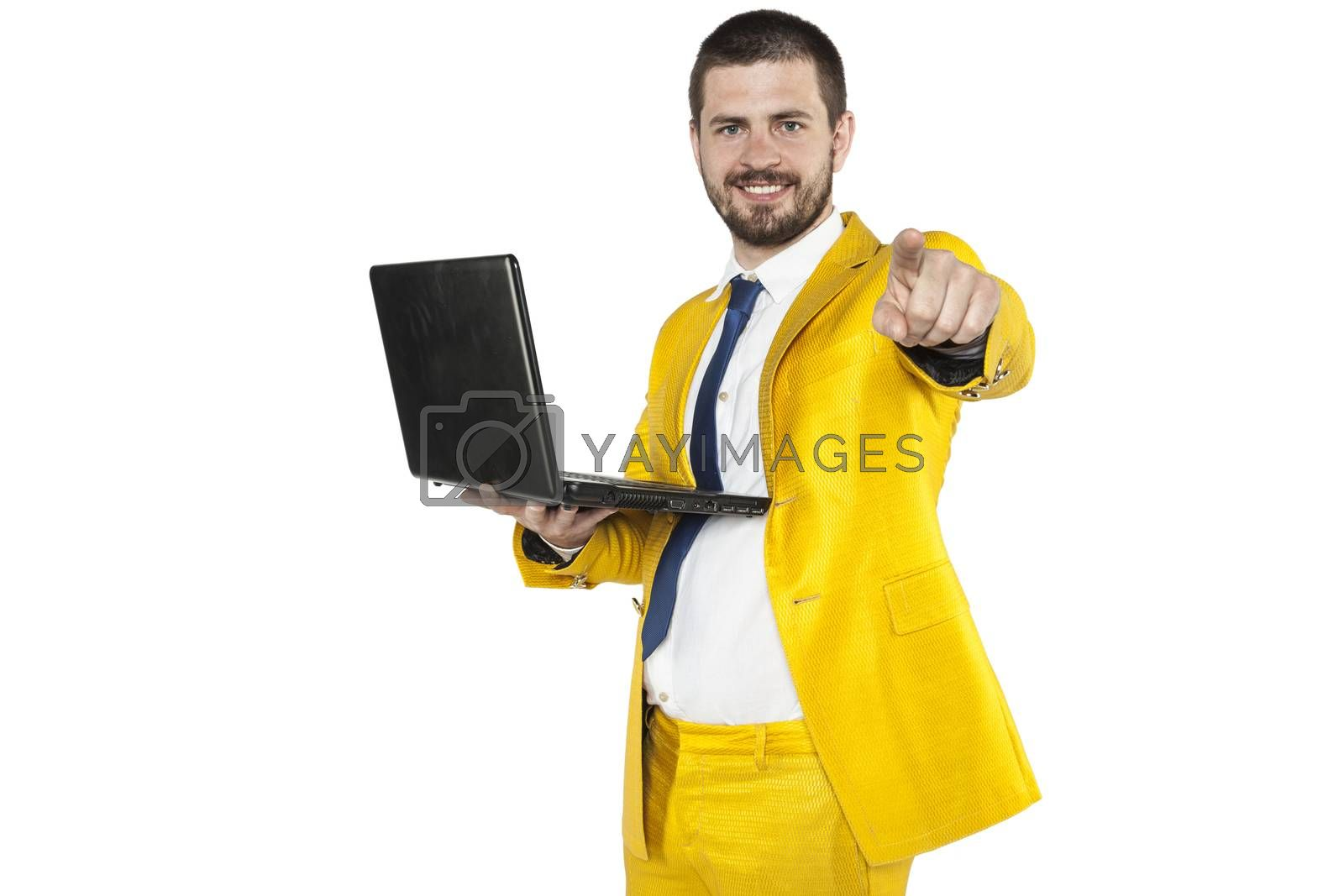 businessman in a golden suit pointing at you by maselkoo99