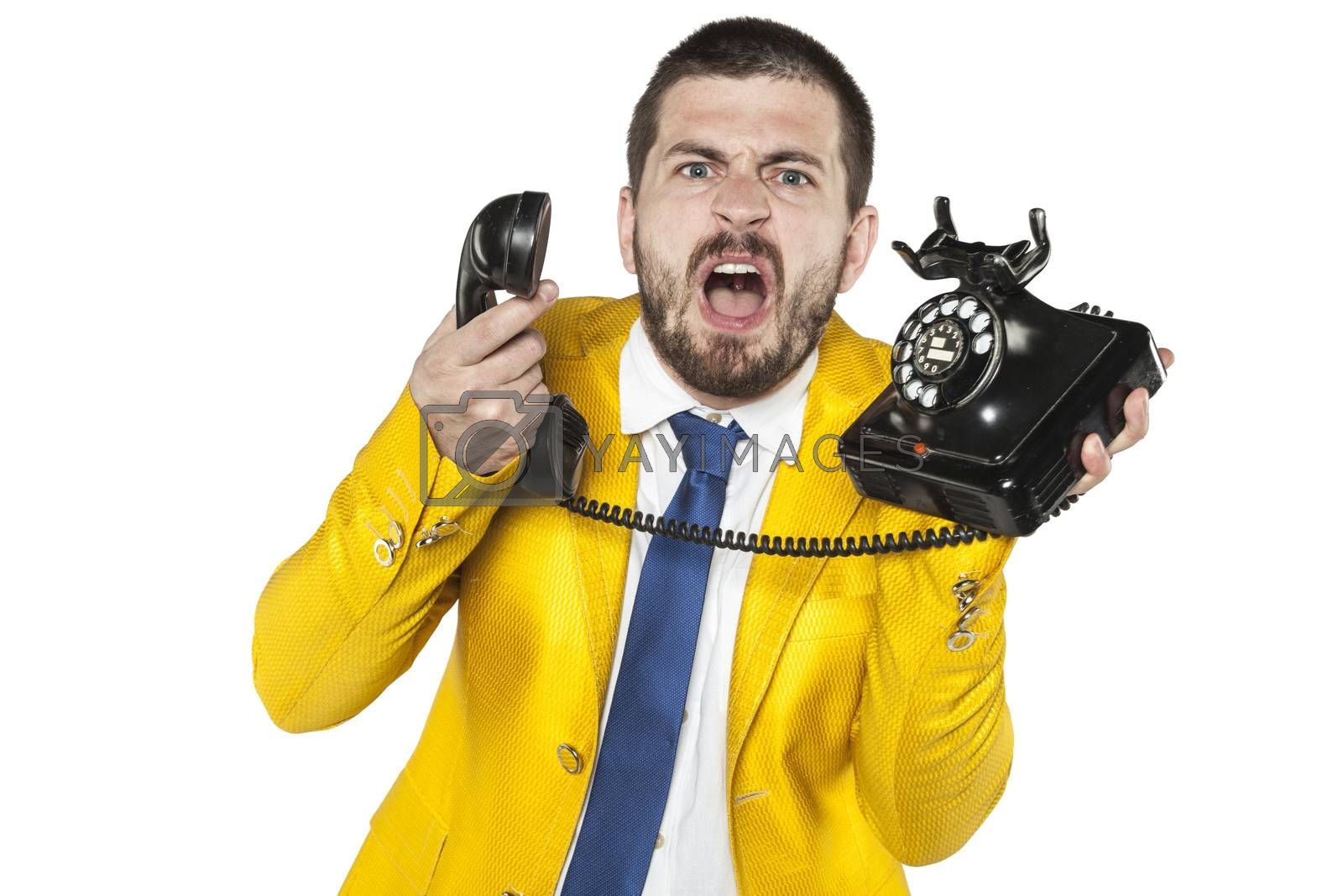 angry businessman screaming to the phone, funny facial expressio by maselkoo99