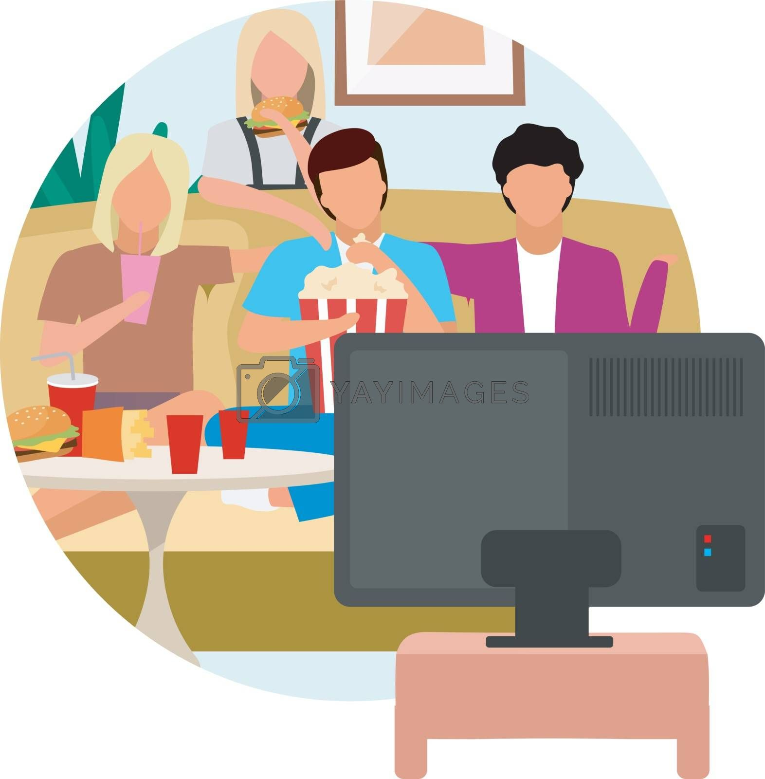 Movie time flat concept icon. Friends watching TV and eating snacks, popcorn. Weekend activity sticker. Best friends spending time together, pastime. Isolated cartoon illustration on white background by ntl