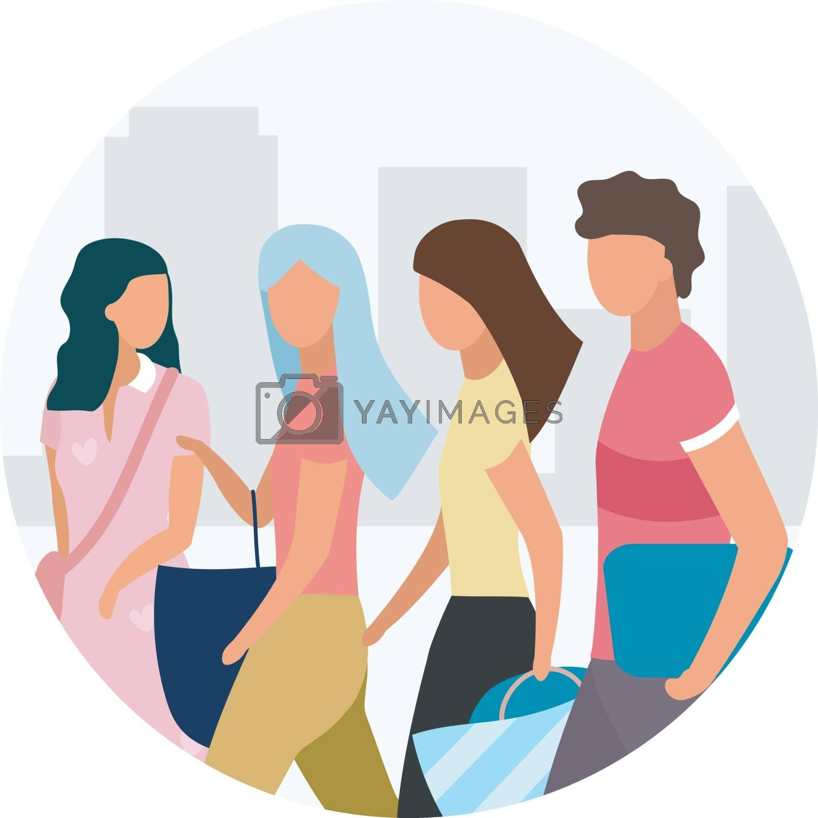 Friends walking flat concept icon. Shopping together sticker. Best friends spending time, weekend activities. Guy and girls talking. Friendship. Isolated cartoon illustration on white background by ntl