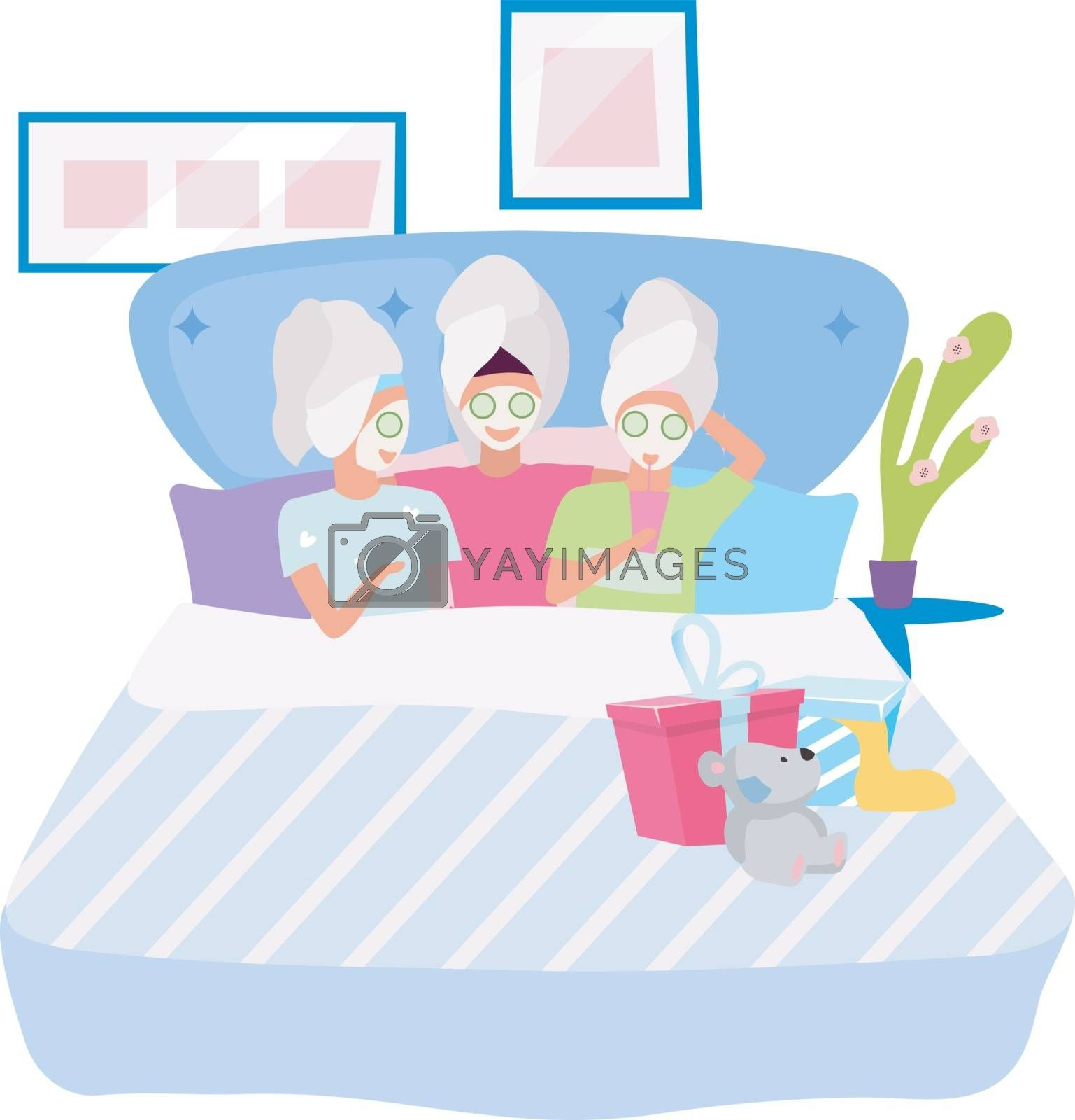 Spa party flat vector illustration. Girlfriend applying facial masks cartoon characters. Sleepover, slumber night party. Friends spending beauty time together, pastime. Female friendship concept by ntl
