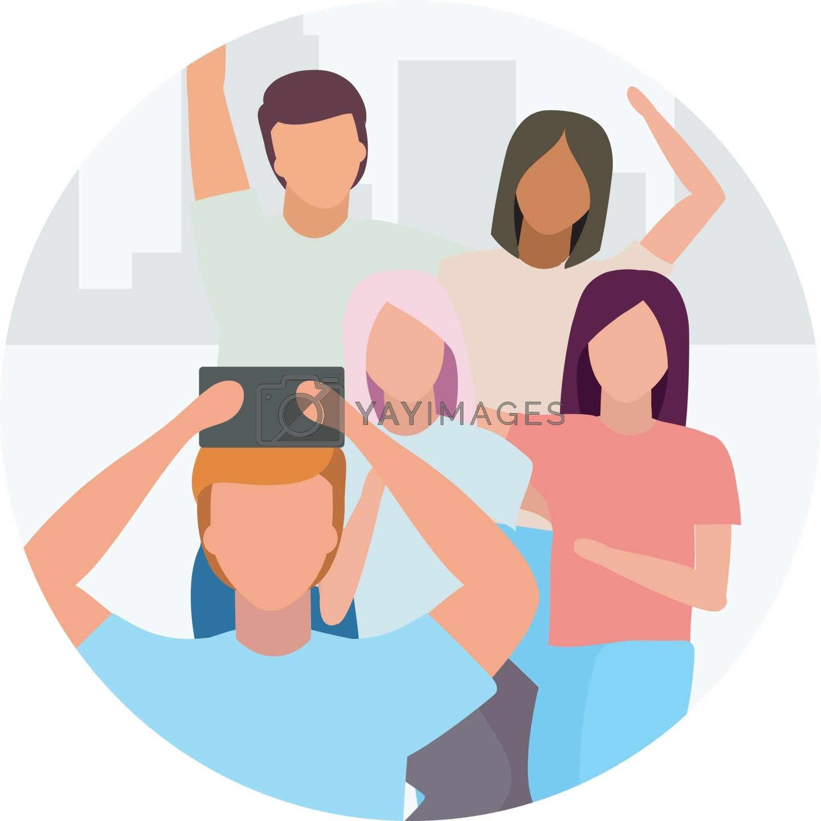 Friends taking selfie flat concept icon. Group of people spending time together, have fun sticker, clipart. Friendship. Best friends forever. Isolated cartoon illustration on white background by ntl