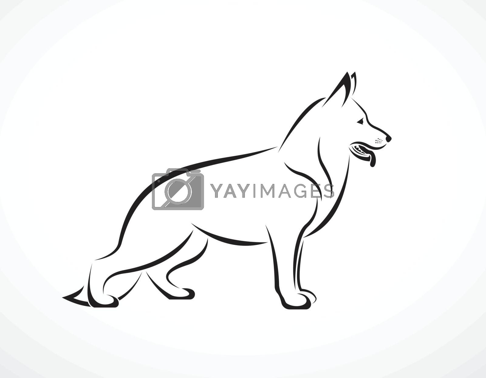 Vector of german shepherd dog on white background. Pet. Animals. Easy editable layered vector illustration.