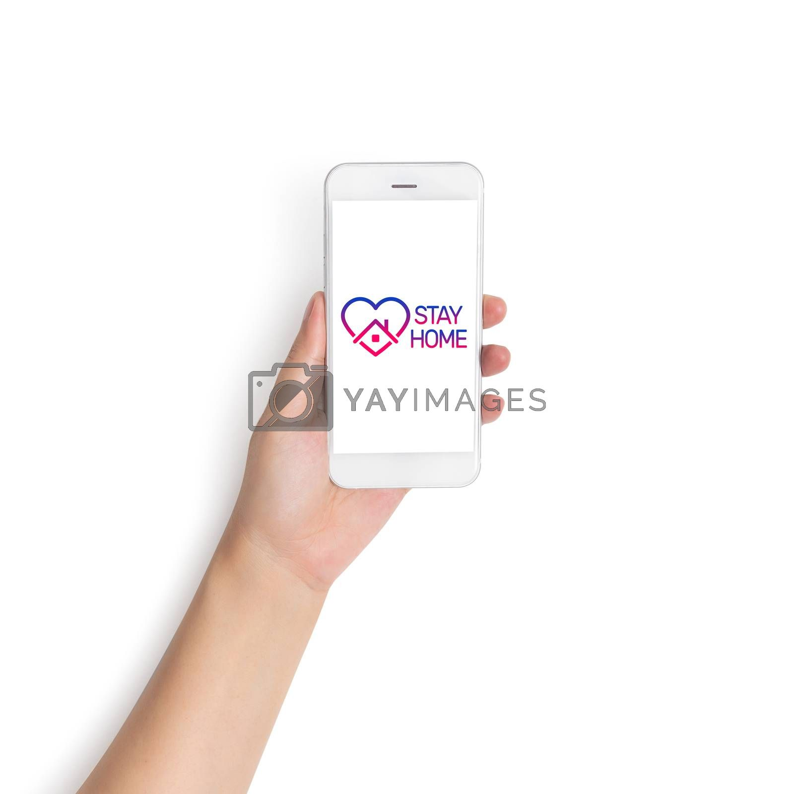 stay home logo on mobile phone, awareness social media campaign  by asiandelight
