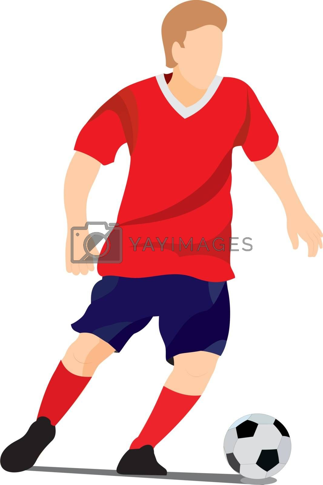 Color vector illustration of a soccer player with a ball without a background, outdoor play, footballer, sport, football player, forward