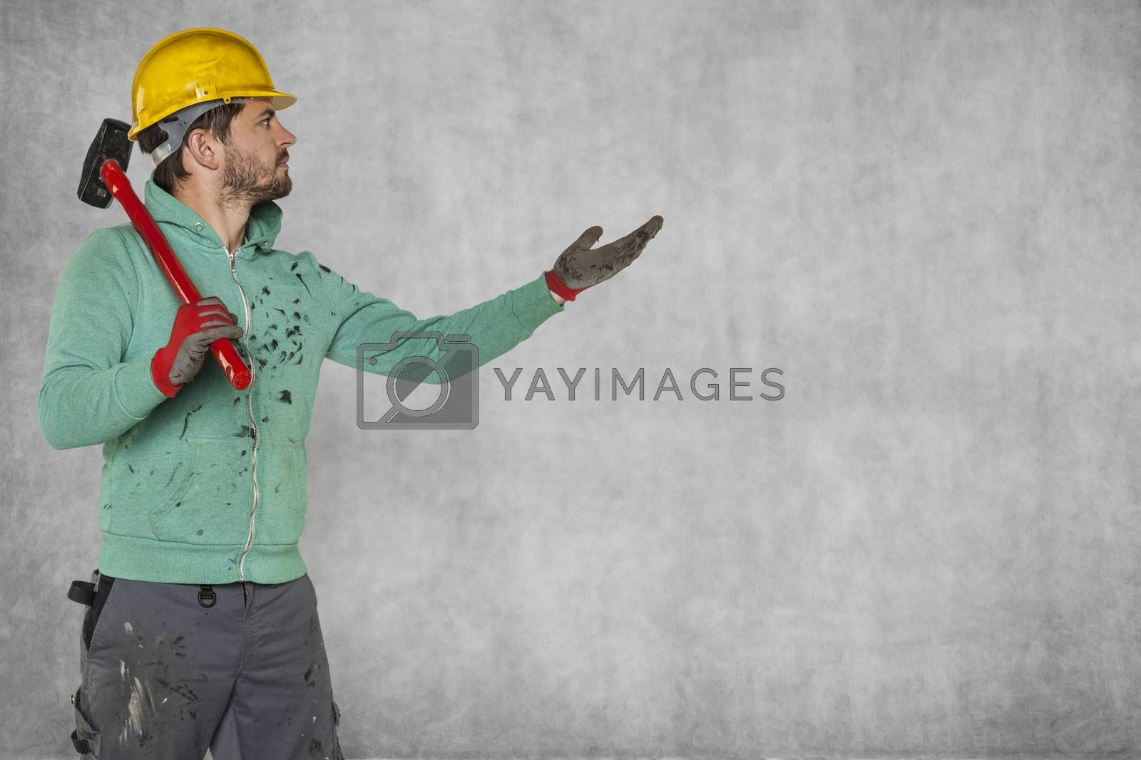 The worker pulls out his hand, copy space