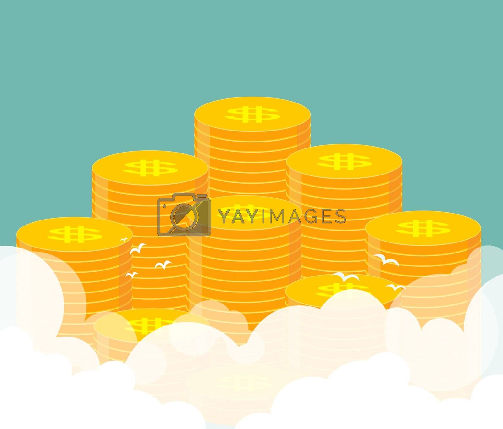 Money. Many stacks of gold coins. Cartoon Vector Illustration.
