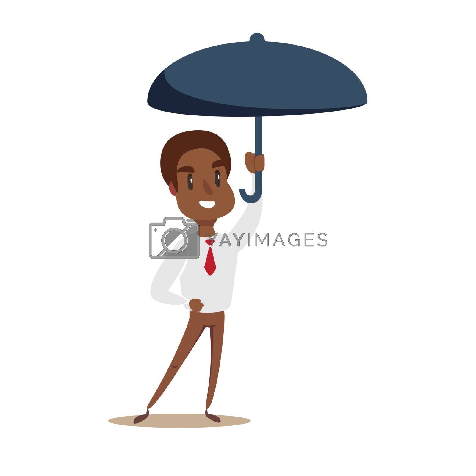 Business Man with an umbrella. Vector flat design illustration.