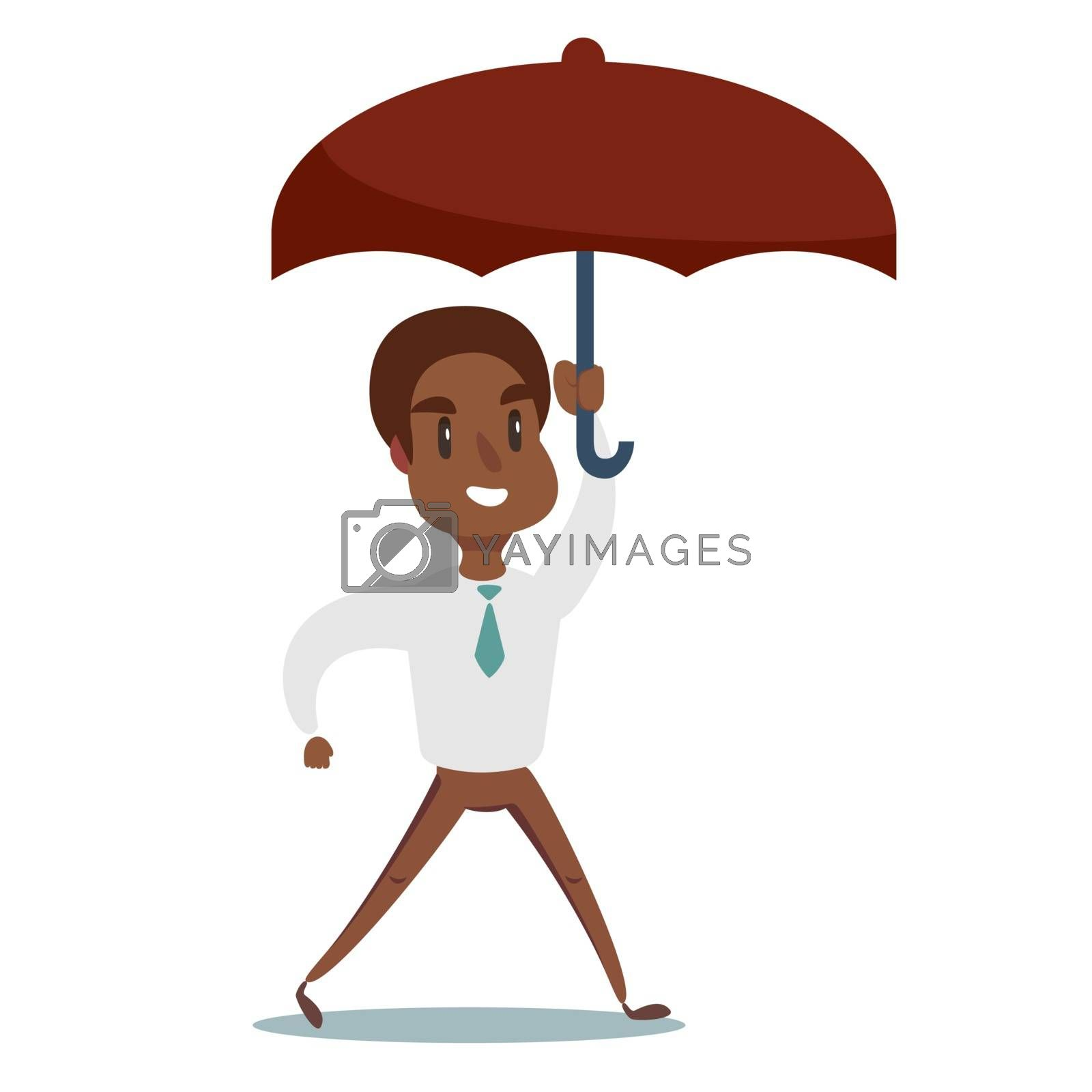 Portrait of a happy African American businessman holding umbrella. Vector flat design illustration.