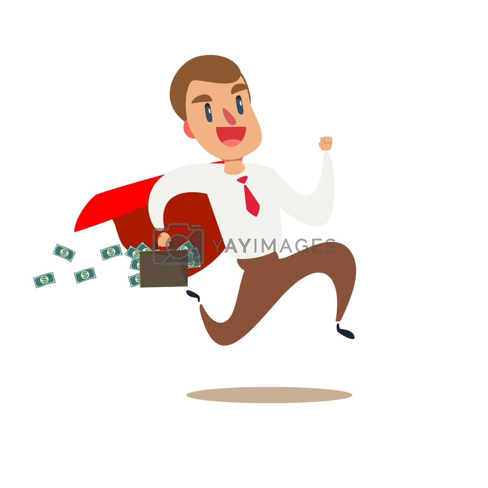 Flat businessman running away with briefcase full of money banknotes vector illustration. Business stealing concept.