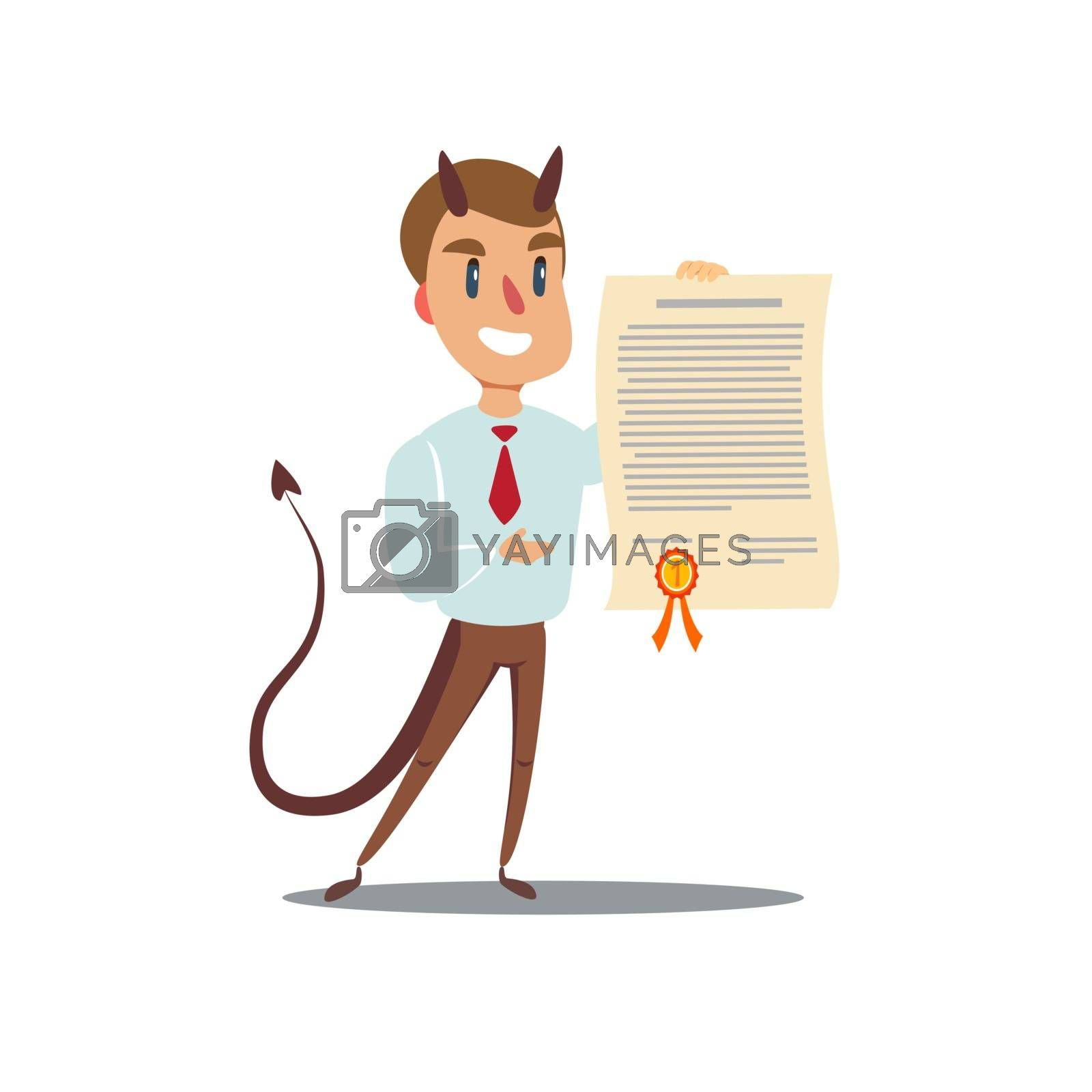 Evil businessman offering contract. Devil's contract. Vector illustration