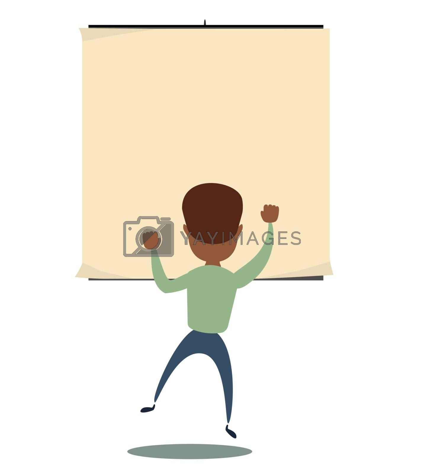 black african american man is looking at the empty poster on wall - back view. Stock flat vector illustration.