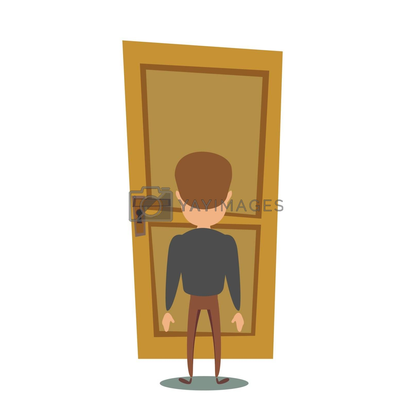 Young character in front of a door knob. Entering the building. Flat editable vector illustration, clip art