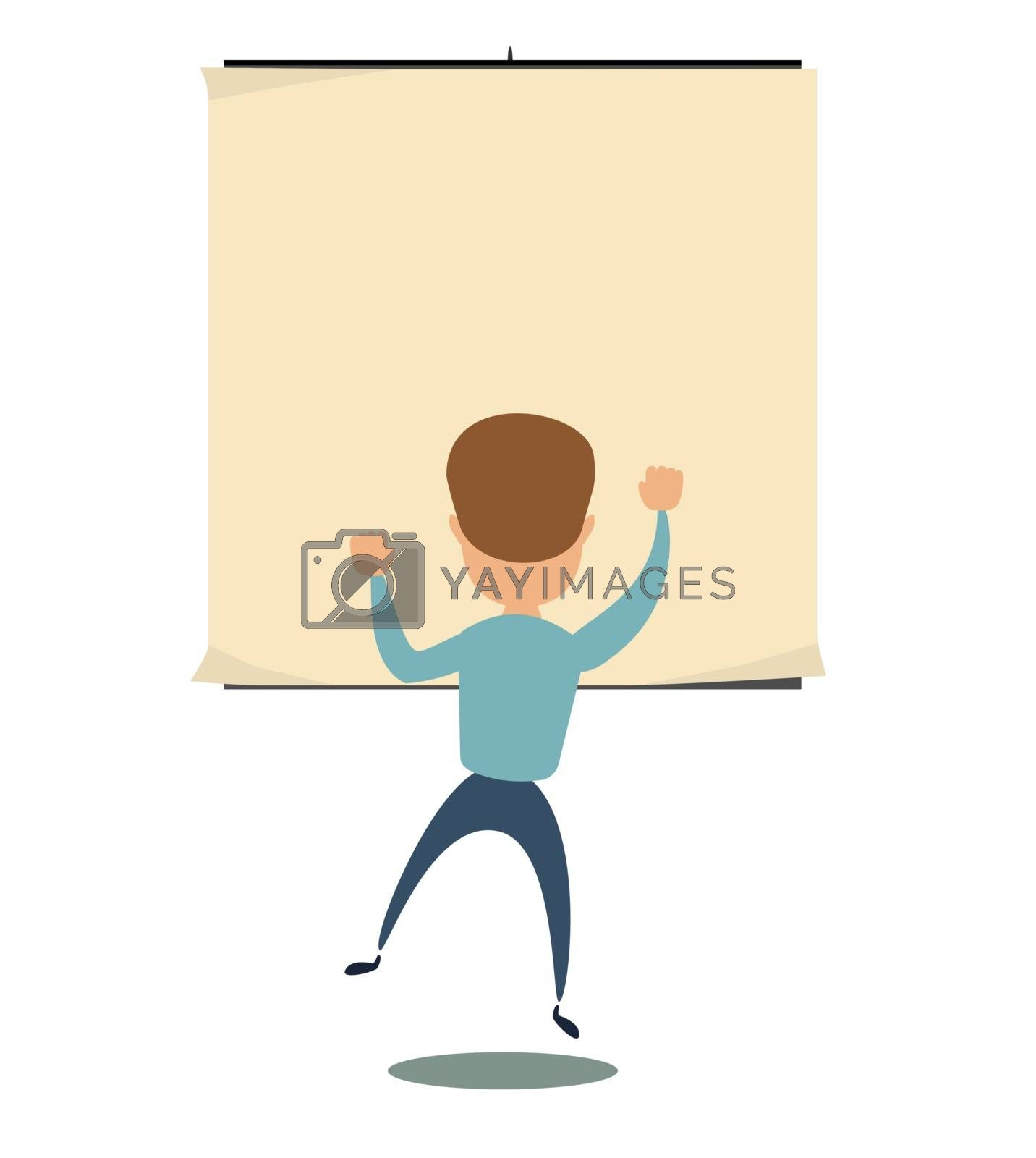 man is looking at the empty poster on wall - back view. Stock flat vector illustration.